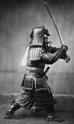 Samurai with sword (public domain)