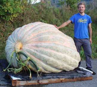 Beni Meier with his 2323.7 pound world record pumpkin in 2014.
